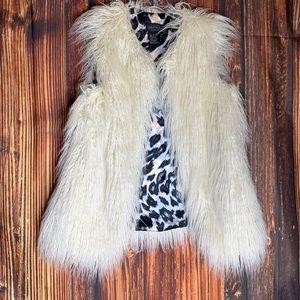 Off white faux fur shaggy vest